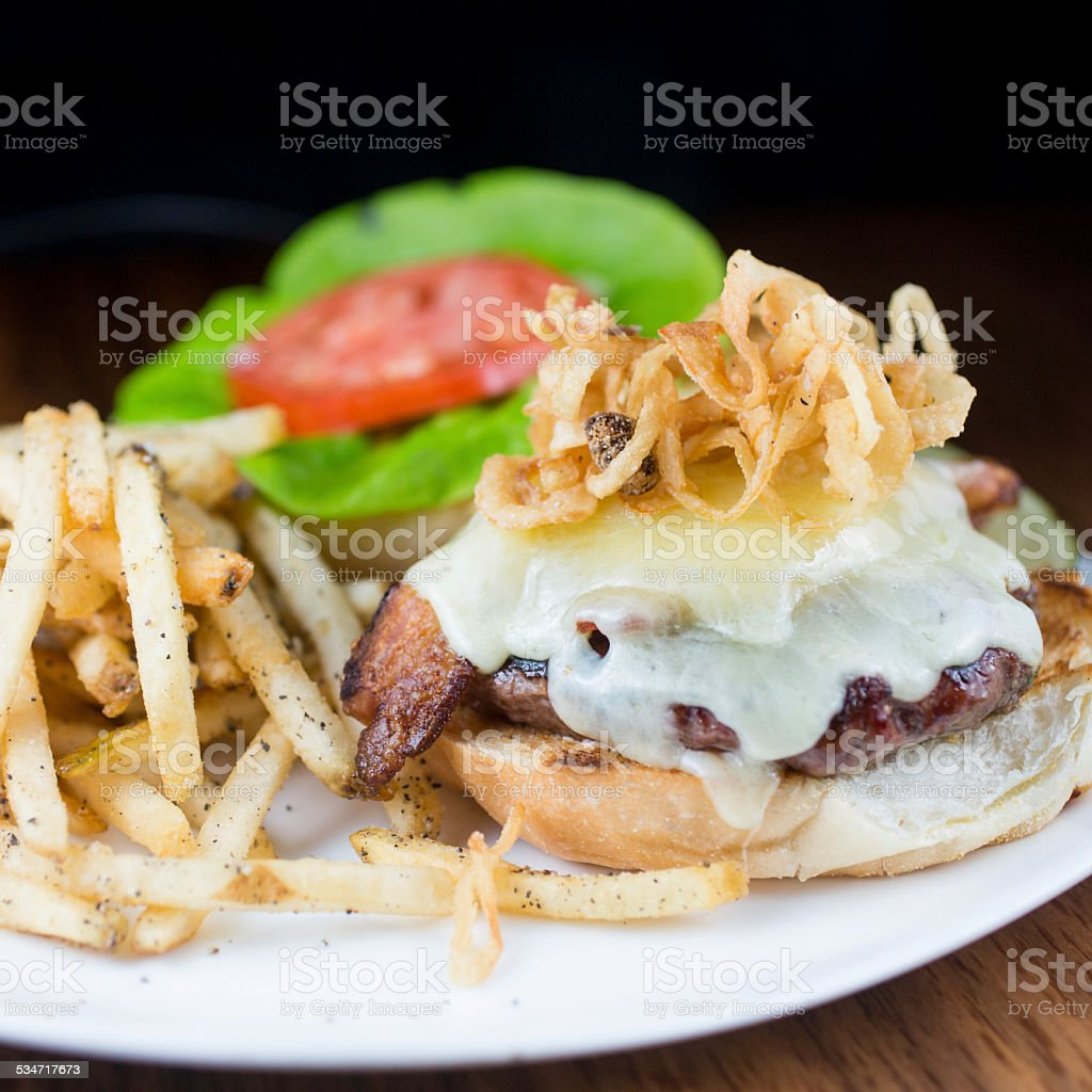 Grass Fed Cheeseburger stock photo
