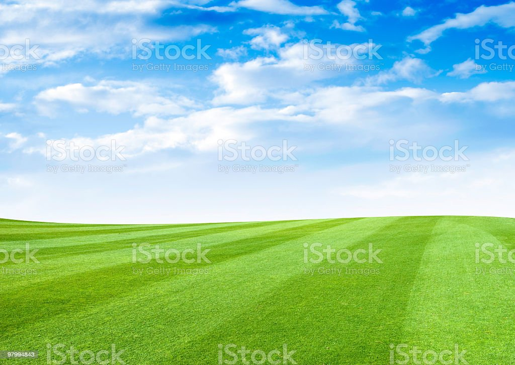 Grass Field With Cloudy Sky stock photo