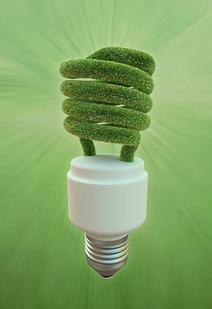 Grass fluorescent  light bulb stock photo