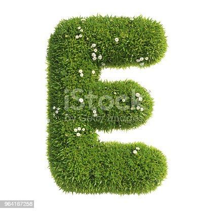 istock Grass font 3d rendering letter E 964167258