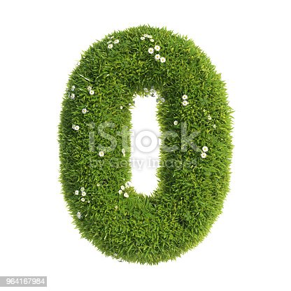 istock Grass font 3d rendering letter O 964167984