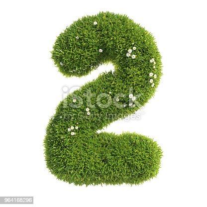 istock Grass font 3d rendering number 2 964168296