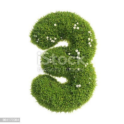 istock Grass font 3d rendering number 3 964172064