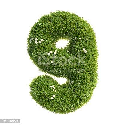 istock Grass font 3d rendering number 9 964168840