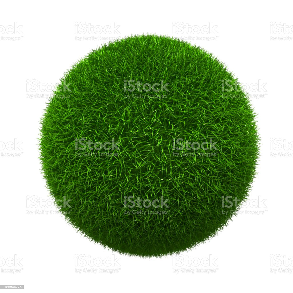 Grass formed into a sphere and isolated on white stock photo