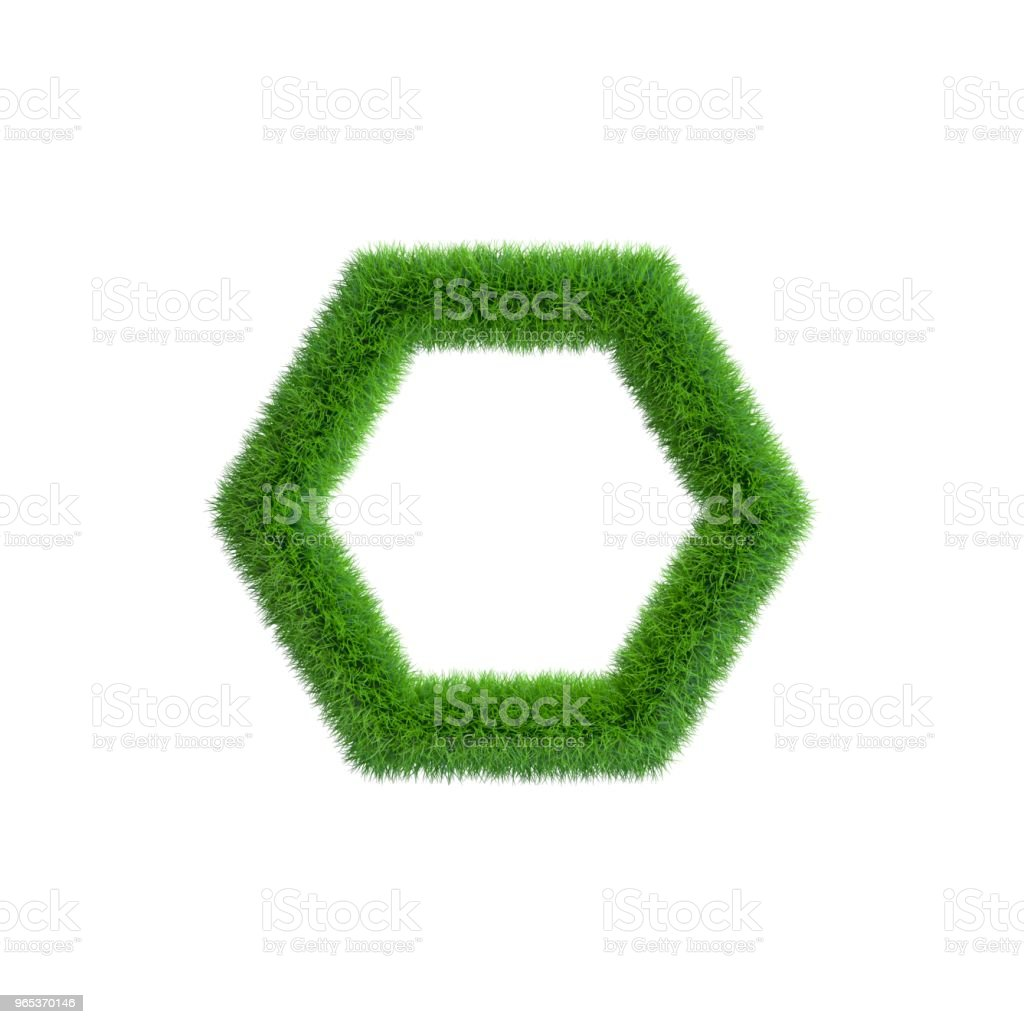Grass frame in form of hexagon. Isolated on white background. zbiór zdjęć royalty-free