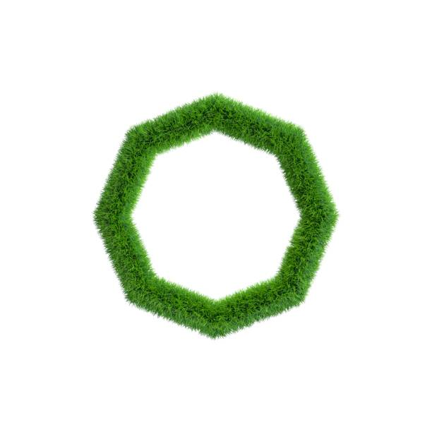 Grass frame in form of octahon. Isolated on white background. stock photo