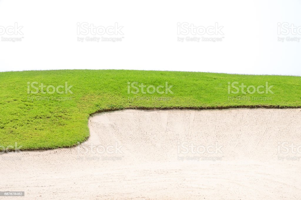 grass hills, sand pit and white background for copy space stock photo