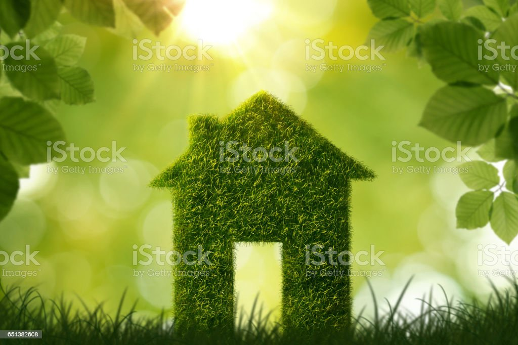 Grass house symbol stock photo