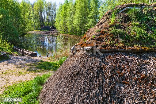 Grass hut by a lake in the woods
