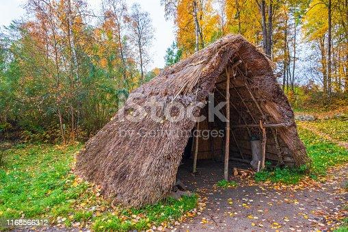 Grass hut in an autumn landscape
