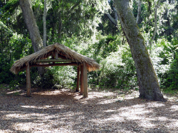 Grass Hut in Florida at National Park stock photo