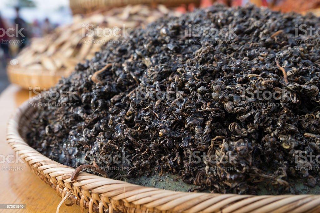 Grass Jelly dried on trays stock photo