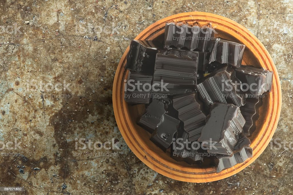 Grass jelly over grunge background royalty-free stock photo