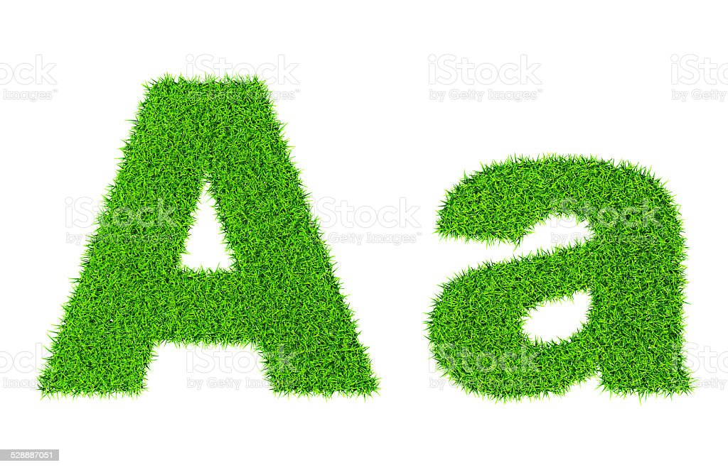 Grass letter A stock photo