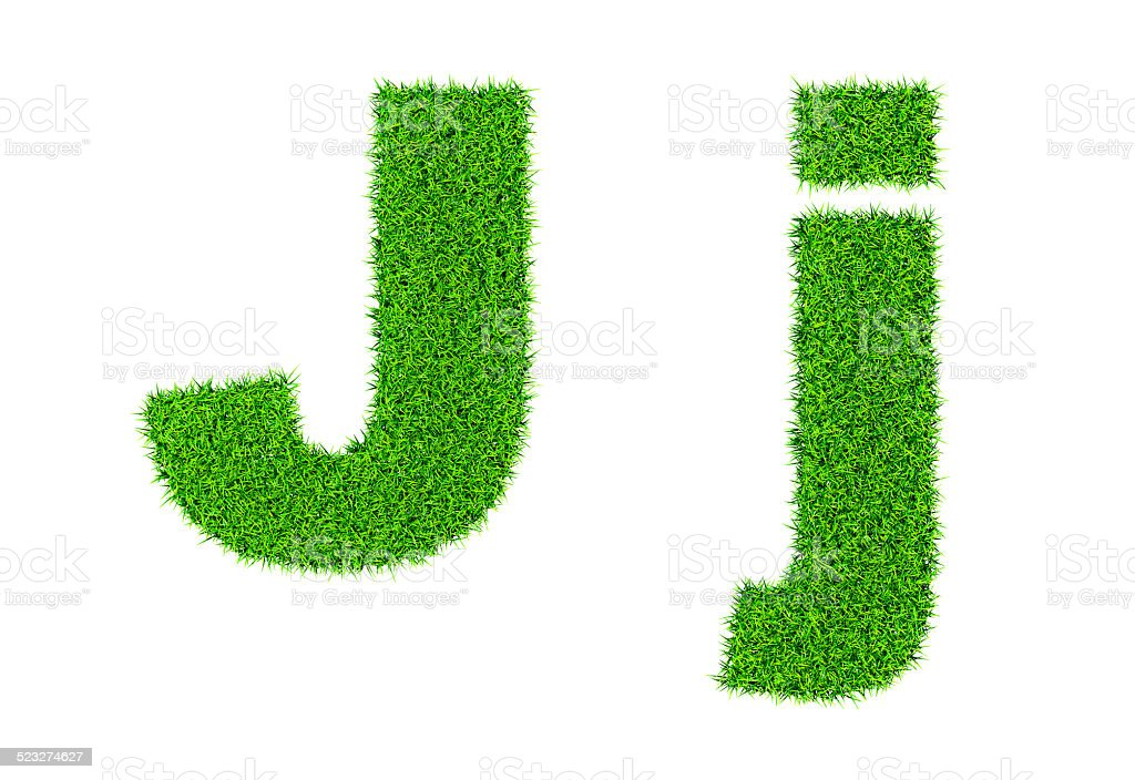 Grass letter J stock photo