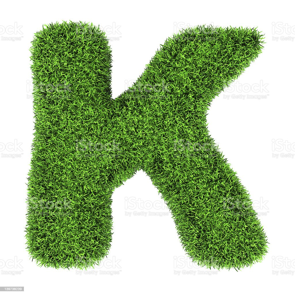 Grass letter K royalty-free stock photo
