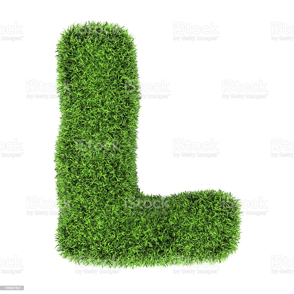 Grass letter L royalty-free stock photo
