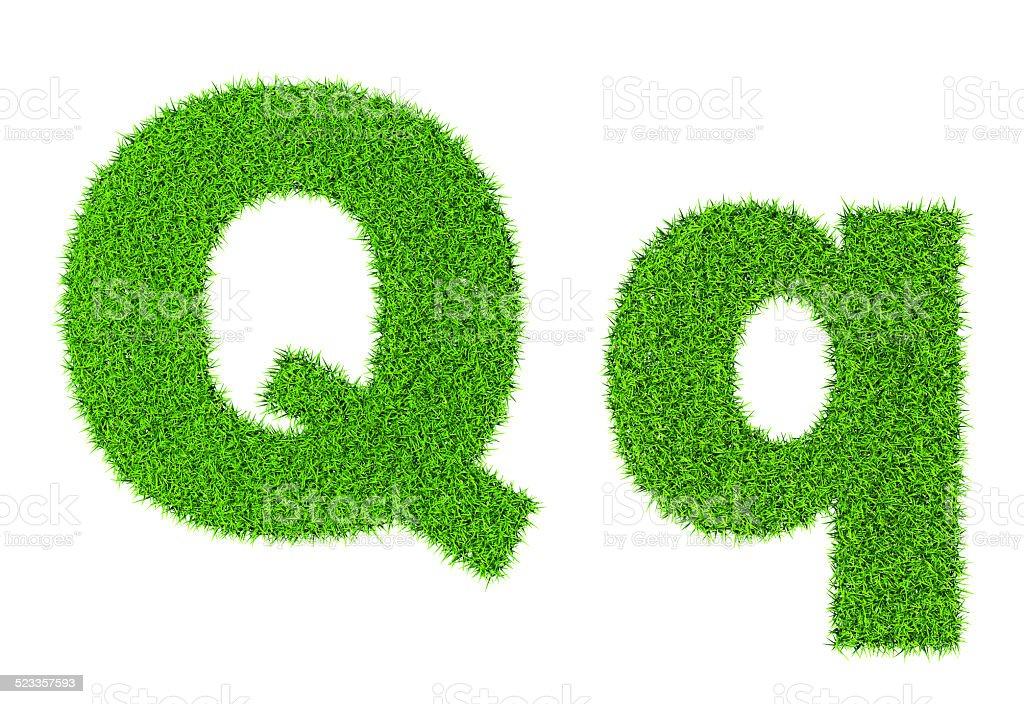 Grass letter Q stock photo