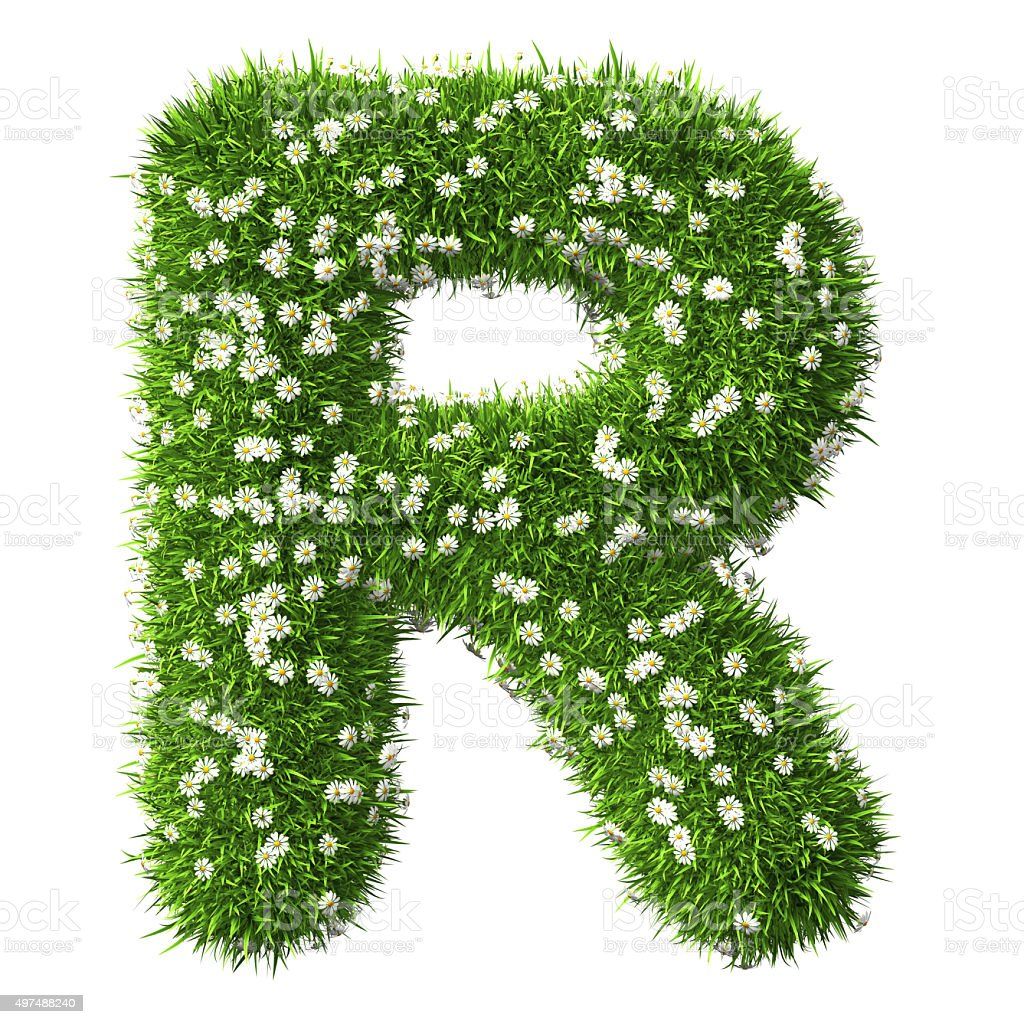 Grass Letter R stock photo