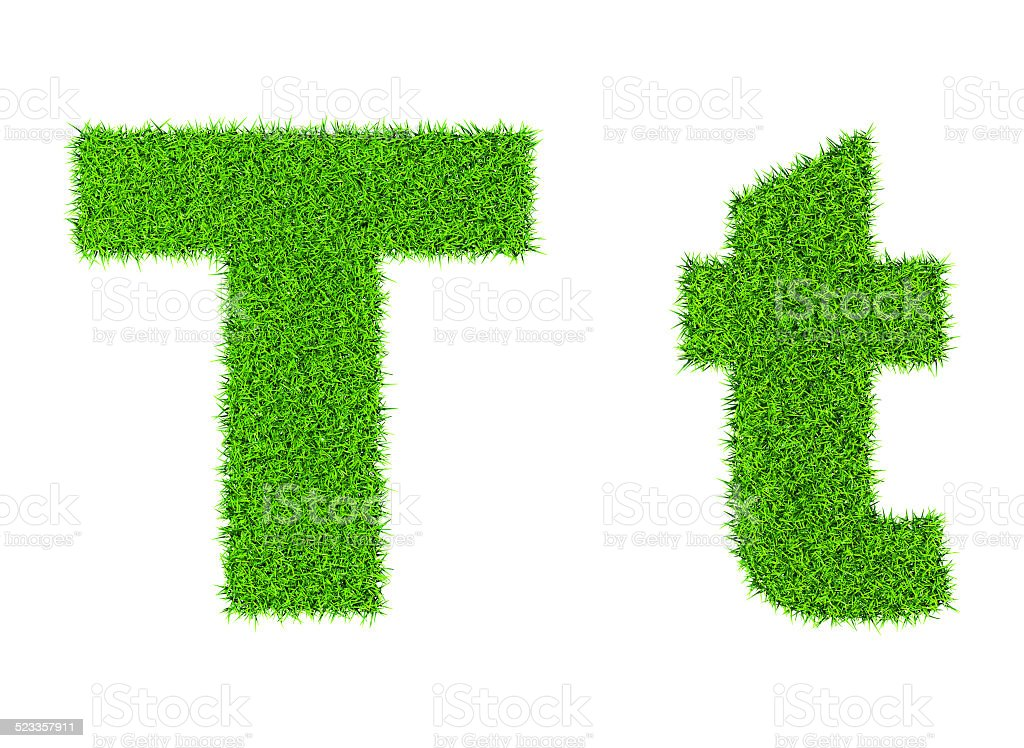 Grass letter T stock photo