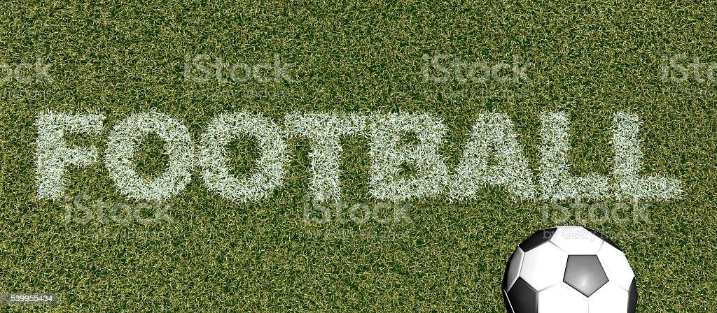 5241de7fc8 Futebol-grama letras no campo de futebol-representação artística em 3D foto  royalty-