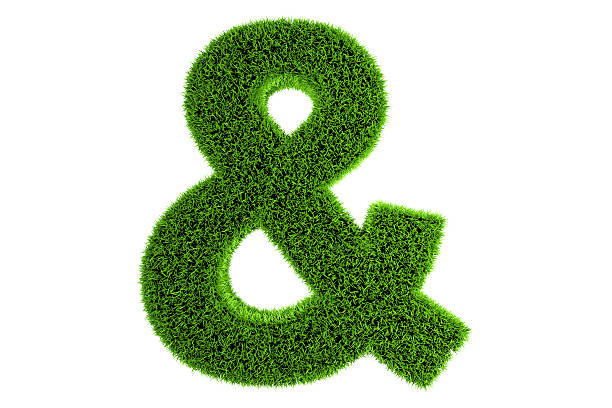grass made 3d symbol - ampersand stock pictures, royalty-free photos & images
