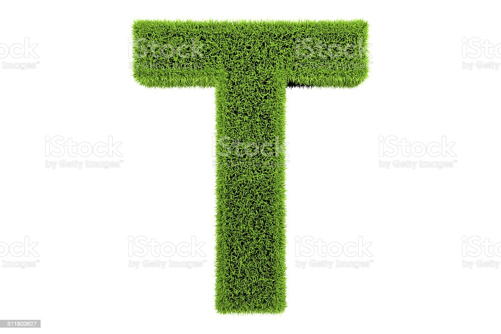 Grass made Alphabet letter T stock photo