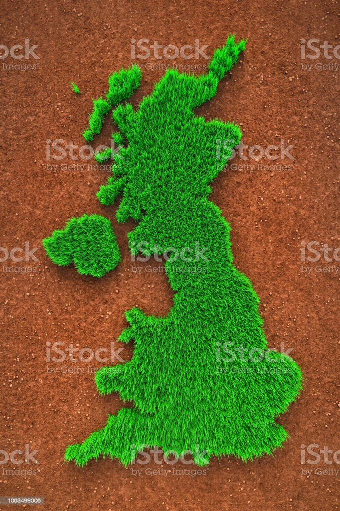 Grass map of England stock photo