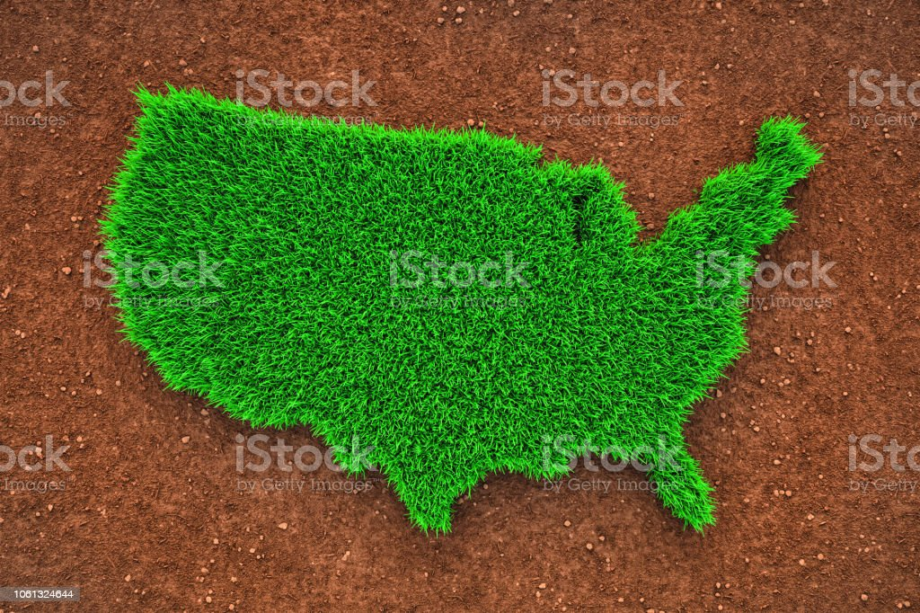 Grass map of USA stock photo