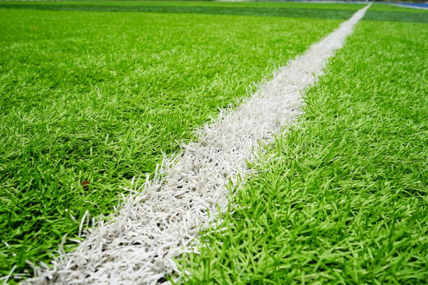 Grass on cement floor with line stock photo
