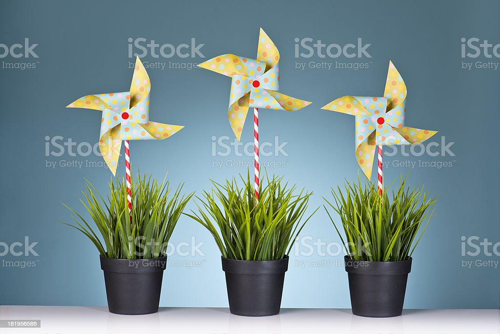 Grass Pots With Pinwheels royalty-free stock photo
