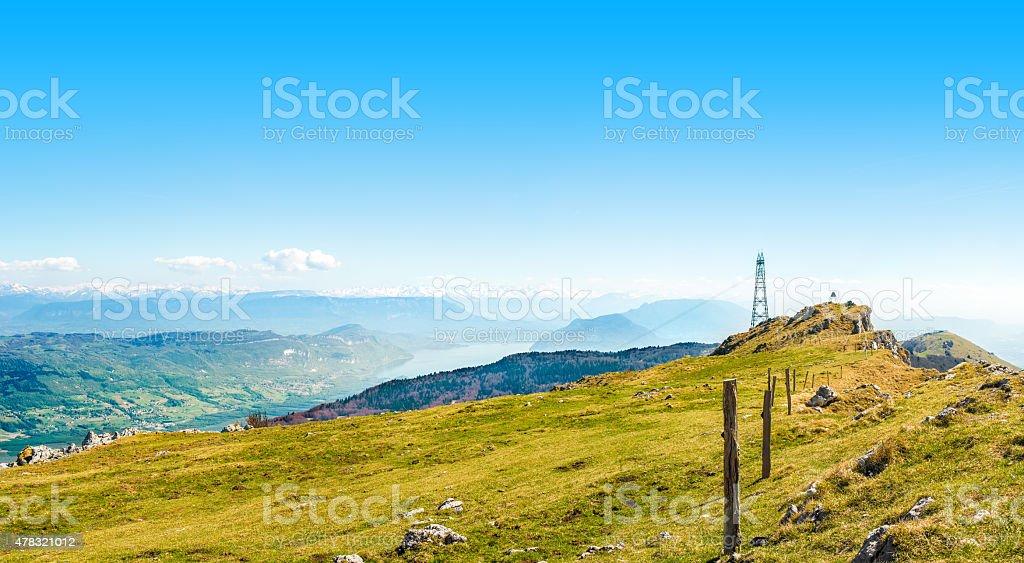 Herbe de prairie top mountain panoramique paysage VUE SUR GRANDE Colombier - Photo