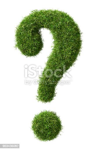 istock A grass question mark isolated on a white background - 3D rendering Environment Concept 953436082