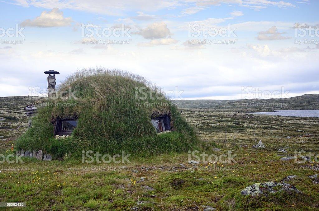 Grass Roofed Hut stock photo