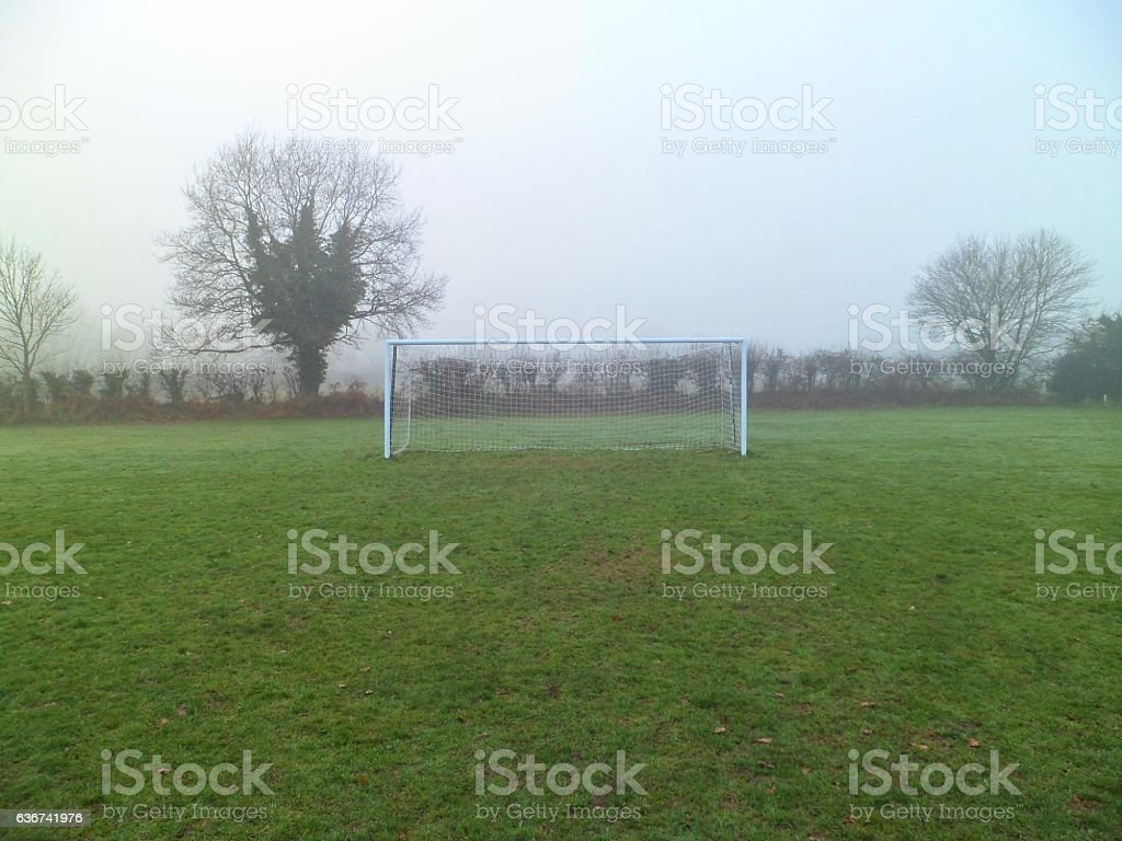 Grass roots amateur football goal with net stock photo