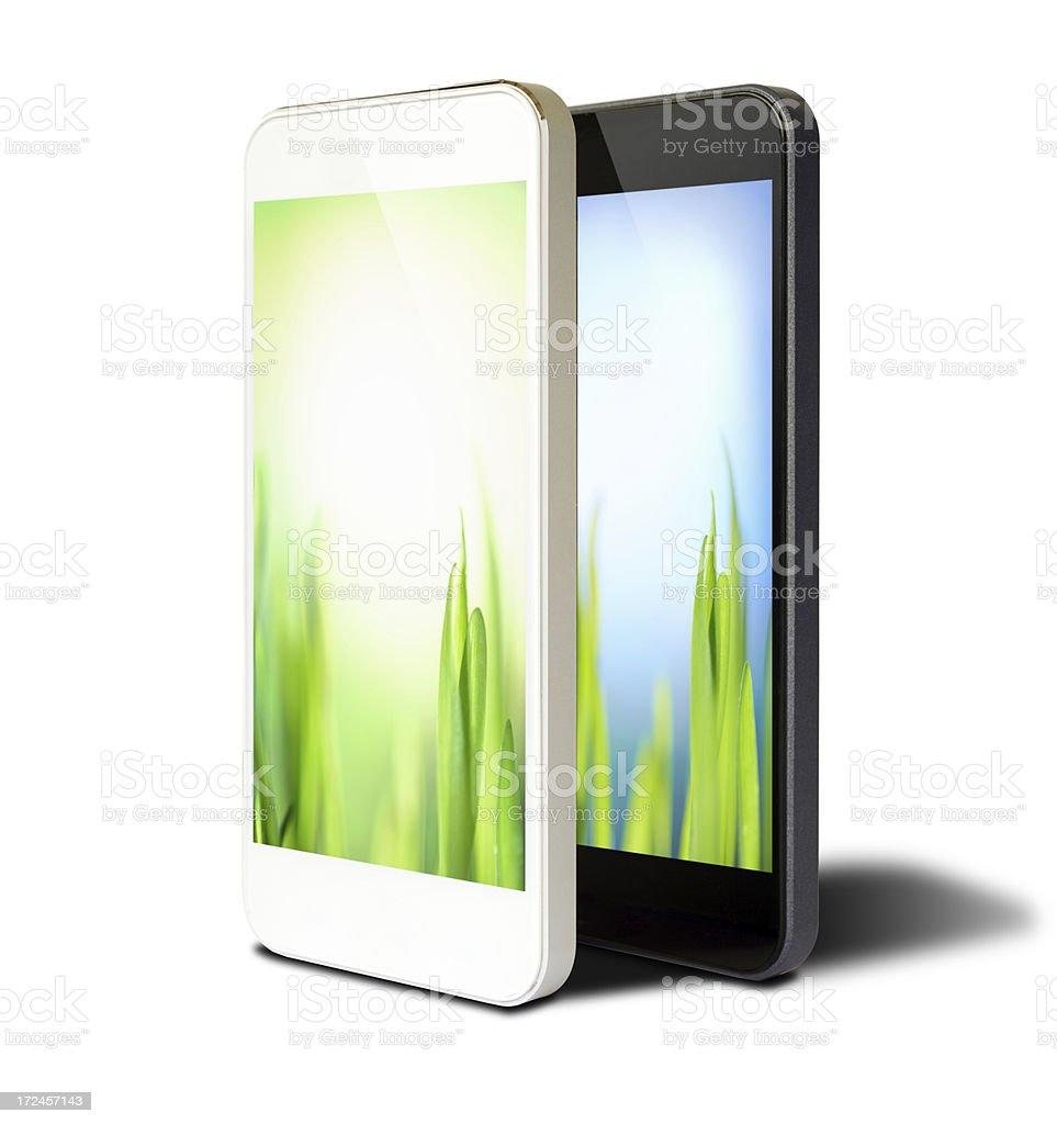 Grass screen smart phone royalty-free stock photo