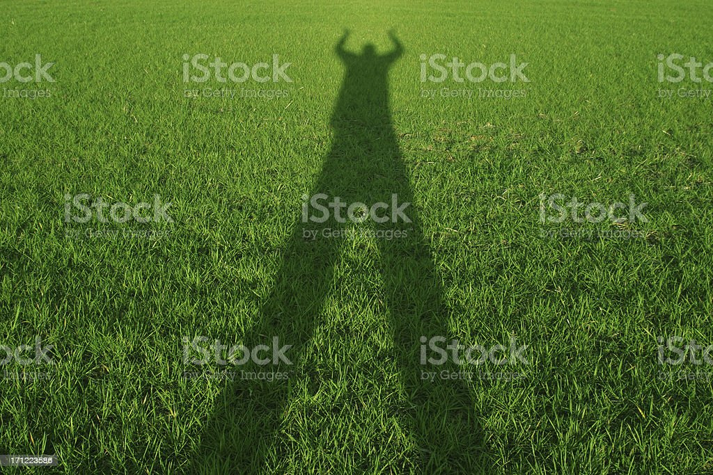 Grass shadow - hands up royalty-free stock photo