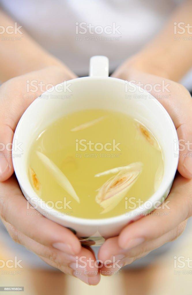 grass Tea and lemon stock photo