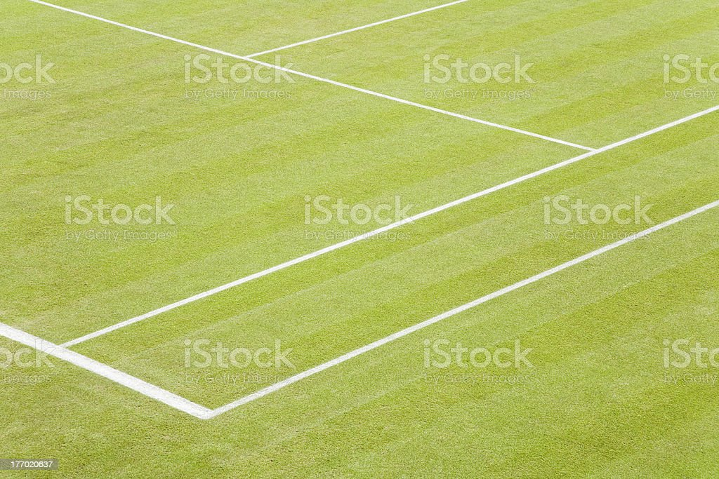 Grass tennis court stock photo