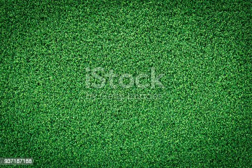 istock Grass texture or green grass background for golf course soccer field or sports background. Artificial green grass. 937187188