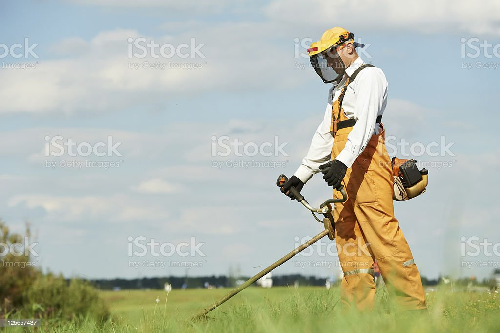 Grass trimmer works stock photo