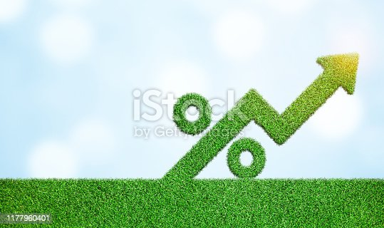 istock Grass with arrow and percentage sign symbol business development to success growing growth concept 1177960401