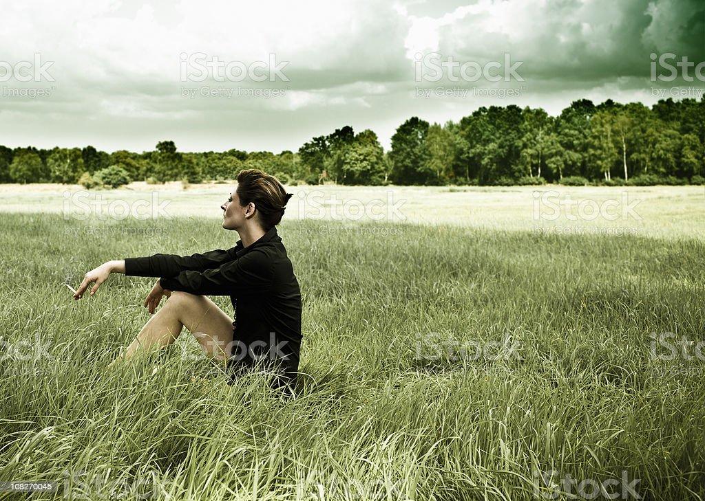 grass woman royalty-free stock photo
