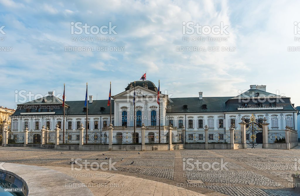 Grassalkovich Palace with the Monument Worldglobe in Bratislava - official residence of the Slovak President. - Royalty-free Architecture Stock Photo