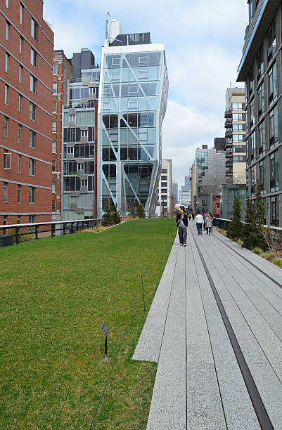 Grassed section of The High Line stock photo