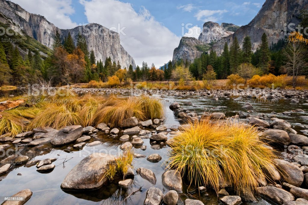 El Capitan and the Merced River in the Fall stock photo