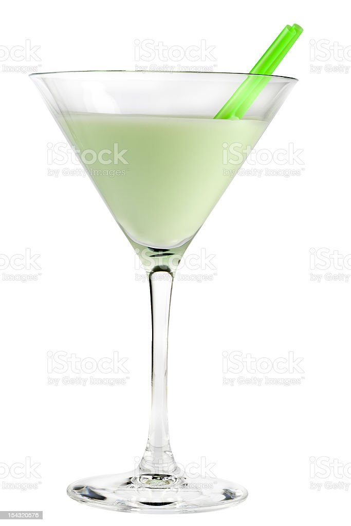 Grasshopper cocktail isolated on white background stock photo