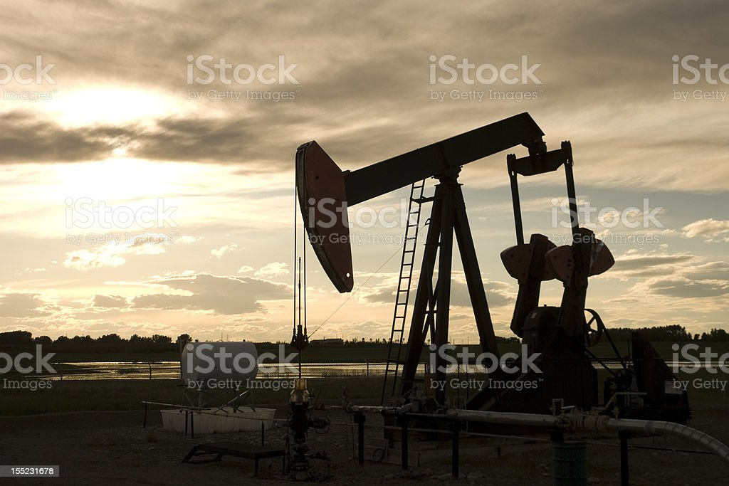 Grasshopper Pump Jack Silhouette royalty-free stock photo