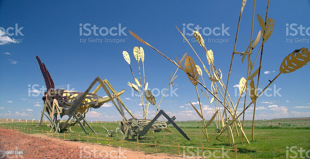Grasshopper Sculpture on Enchanted Highway, North Dakota stock photo